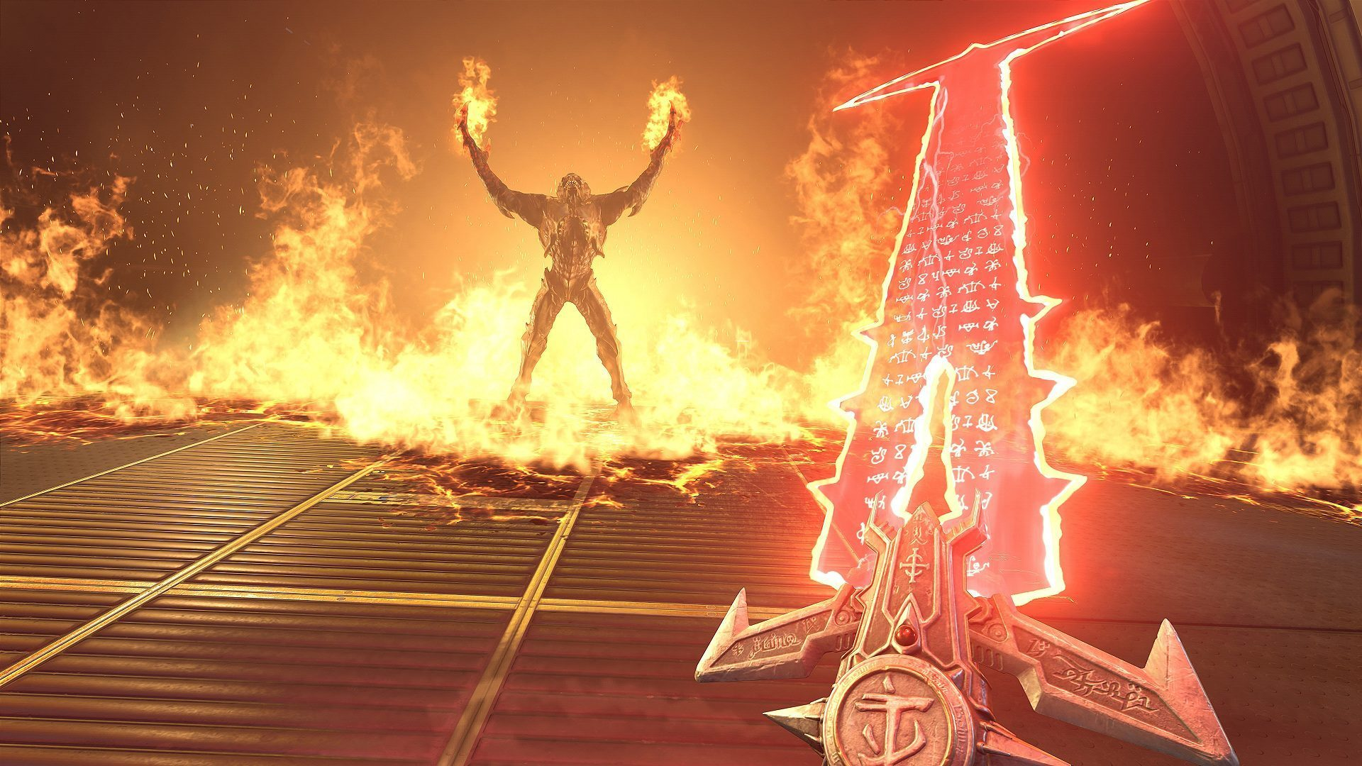 A still of Doom Eternal, where the Doom Slayer wields a demonic sword