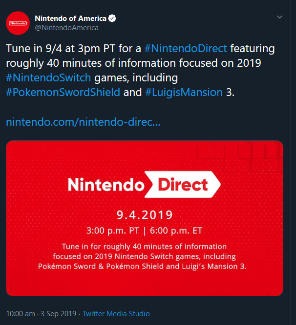 Nintendo Direct announcement 4 sept